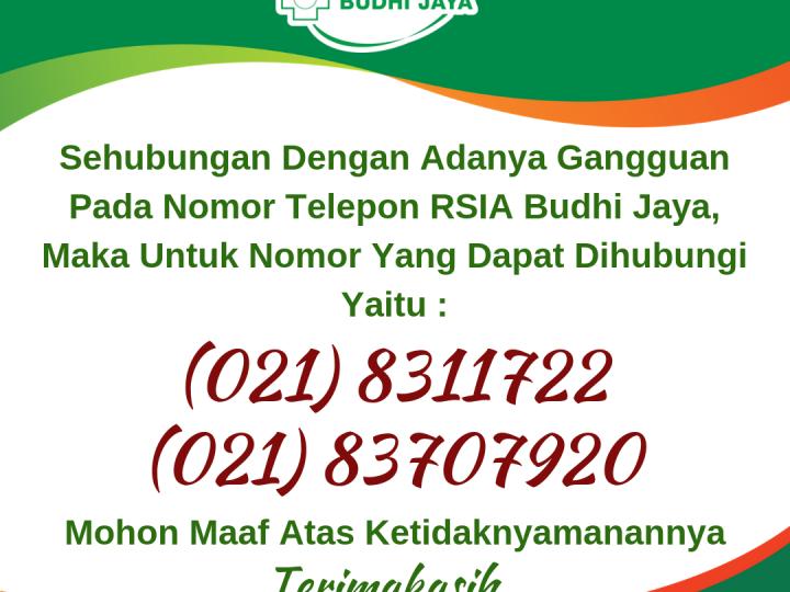Informasi Nomor Telepon Baru RSIA Budhi Jaya