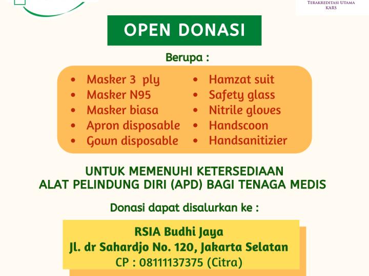 Open Donasi Alat Pelindung Diri (APD)